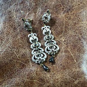 Chandelier earrings black gold silver long unique